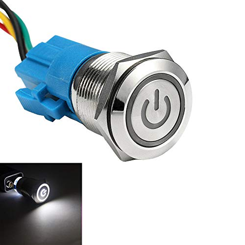 ESUPPORT 16mm 12V 3A Car White LED Light Angel Eye Metal Push Button Toggle Switch Socket Plug Latching Black Shell