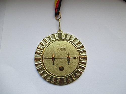 Fanshop Lünen 10 Stück Medaillen - Große Metall 70mm (Gold) - mit Alu Emblem 50mm (Gold) - Kicker - Tischfußball - Fußball - mit Emblem 50mm, Gold - mit Medaillen-Band - (e107) -