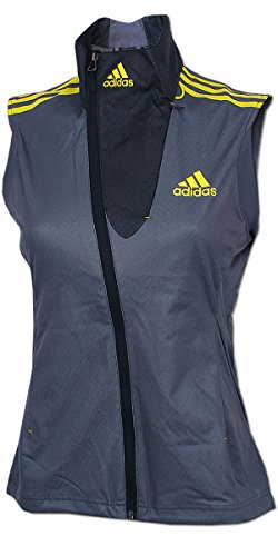 adidas Damen Athleten Weste Outdoor DSV Langlauf Biathlon Running Wintersport (grau-gelb, 34)