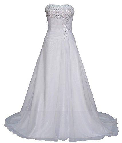 Romantic-Fashion Brautkleid Hochzeitskleid Weiß Modell W074 A-Linie Lang Satin Trägerlos Perlen Pailletten DE Größe 42