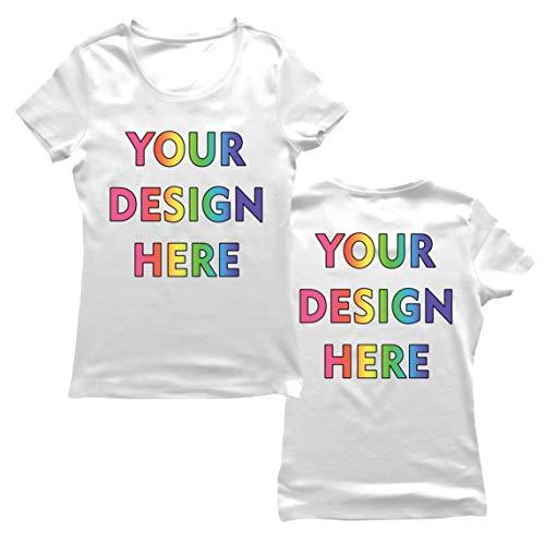 lepni.me Camiseta Mujer Impresión Personalizada de 2 Caras en el Frente y en la Parte Posterior, Texto Personalizado o Diseño de su Propia Imagen (Large Blanco Multicolor)