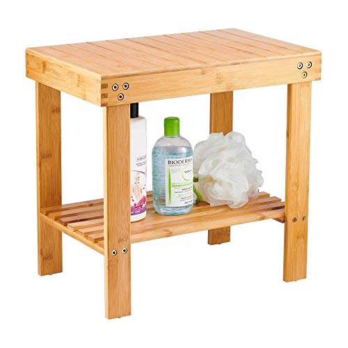 VaeFae Bamboo Spa Bench Wood Seat Stool Foot Rest Shaving Stool with Non-Slip Feets Storage Shelf for Shampoo Towel,Works in Bathroom/Living Room/Bedroom/Garden Leisure