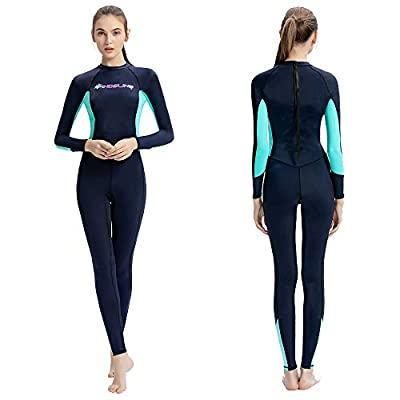 Dive Skins Full Body Swimsuit Lycra Wetsuit Scuba Rash Guard Diving Suit for Women Men Adult, Long Sleeve Swimwear One Piece UV Protection Quick Dry Sunsuit for Surfing Snorkeling Kayaking (Blue, L)