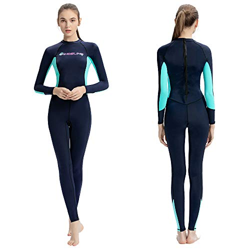 Dive Skins Full Body Swimsuit Wetsuit Scuba Rash Guard Diving Suit for Women Men Adult, Long Sleeve Swimwear One Piece UV Protection Quick Dry Sunsuit for Surfing Snorkeling Kayaking (Blue, S)