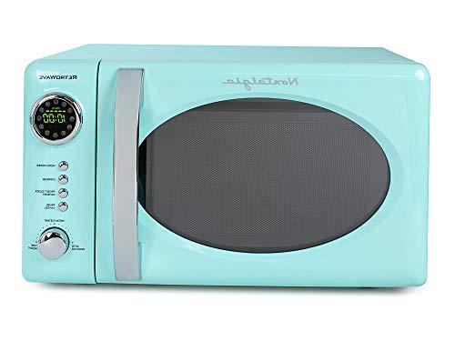 Nоstаlgiа Home Decor RMO7AQ Retro 0.7 Cubic Foot 700-Watt Countertop Microwave Oven, Aqua