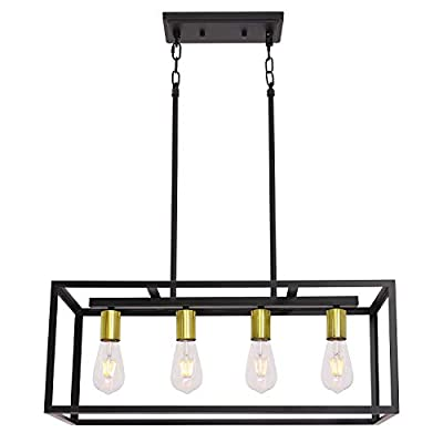 VINLUZ Rectangular Metal Chandelier.6 Light Black Linear Industrial Pendant Lights Cage Island Ceiling Lighting Fixture for Dining Room Kitchen
