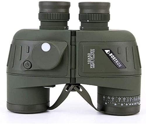 FGVBC Binoculares HD 10x50, brújula de navegación y telémetro, Lente para Objetos Grandes BAK4, Vista Grande, Resistente al Agua y a la Niebla para la observación de Aves