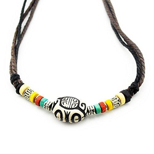 axy TIBK1 Tibet Kette Serie ! Halskette-Necklace Surferkette-Holzperlen Herren Schmuck (Modell 9)