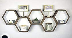 Rustic Hexagon Shelf  for living room wall decoration