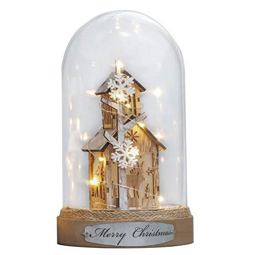 Valery Madelyn 23cm Glasglocke LED Weihnachtsbeleuchtung Glaskuppel Weihnachtsdekoration mit Lichterkette und Holzboden Batteriebetrieben Nachttischlampe für Weihnachtsschmuck MEHRWEG Verpackung