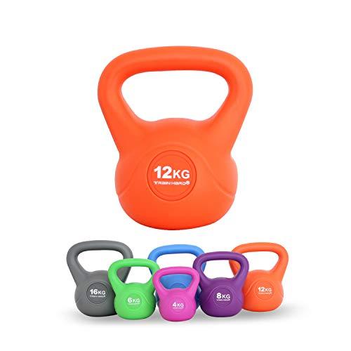 Train Hard Kettlebell 12 kg Kugelhantel Kunststoff mit Zement Füllung farbig, ideal für Krafttraining Gymnastik und Heimtraining