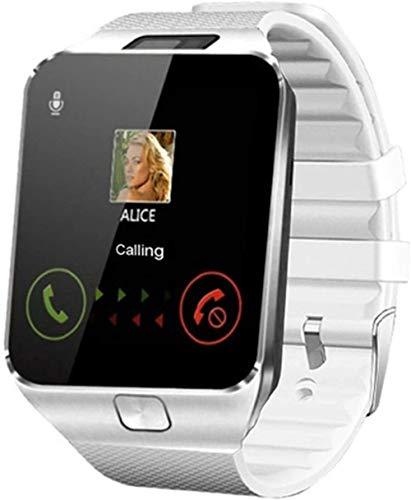 Relojes inteligentes para hombre, teléfono Android, Relogio 2G GSM, tarjeta SIM TF, cámara de llamada, reloj de regalo (color: negro)-blanco