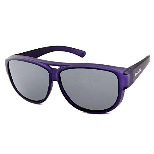 ActiveSol Design ÜBERZIEH-SONNENBRILLE | Flieger Brille | Sonnen-Überbrille UV400 Schutz | polarisiert | 24 Gramm (Dark Purple)