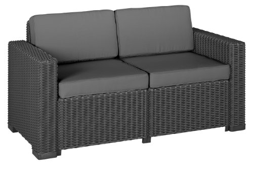 Allibert 212366 Lounge Sofa (2-Sitzer) California Sofa, Rattanoptik, Kunststoff, graphit