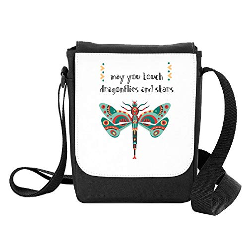 May You Touch Dragonflies and Stars Insect Proverb Crossbody Strap Shoulder Bag - Small