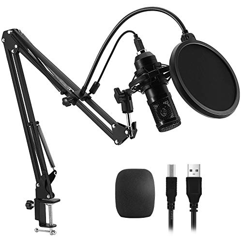 PREUP USB Mikrofon Kondensator Microphone Kit, Professionelle Podcast-Mikrofonsets mit Mikrofonständer, Stoßdämpferhalter, Windschutzscheibe, Popfilter, für Rundfunk, Aufnahme (groß1)
