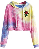 Romwe Women's Casual Tie Dye Hoodie Sweatshirt Long Sleeve Floral Embroidered Crop Top Multicolor XL