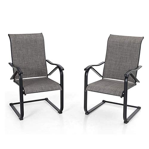 MFSTUDIO 2 Pieces Patio Dining C Spring Motion Textilene Metal Rocker Chairs Weather Resistant Garden Outdoor Modern Furniture, Sling Mesh Black Steel Frame