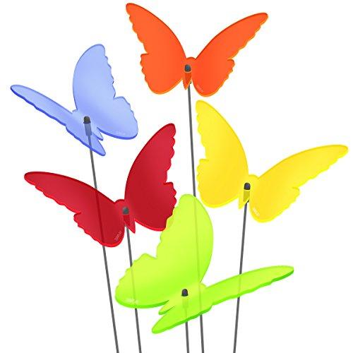 """SUNPLAY Sonnenfänger """"Schmetterlinge Maddy"""" im FARBMIX, 5 Stück zu je 20 cm Durchmesser im Set + 70 cm Schwingstäbe"""