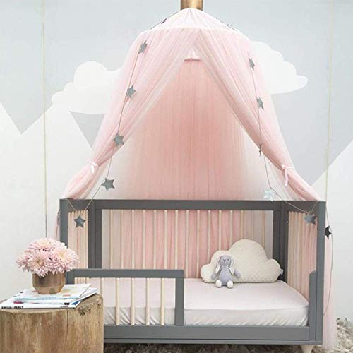 Naturer Baldachin Kinderzimmer Mädchen Altrosa Tüll Prinzessin Betthimmel Babybett Kinderbett Durchsichtig Moskitonetz Babyzimmer Kinderzimmer Deko