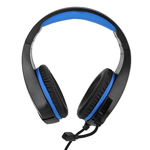 DAUERHAFT Computer-Headset Ergonomisches Design Gaming-Kopfhörer Professionelles Proteinleder für Laptops und Mobiltelefone(Dark Blue)