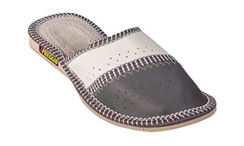 Apreggio - Zapatillas de Mujer Hechas de Cuero - Suela de Goma Firme - cómodo de Llevar - Suave - Producto 100% Natural - Hecho a Mano (Gris, 39)