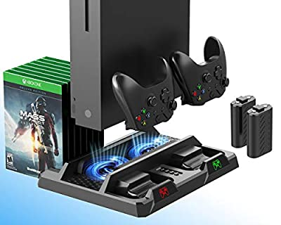 ElecGear Xbox One Vertical Charging Stand with Cooling Fan, 2X 1200mAh Rechargeable Battery Pack for Controller, Games Storage Bracket, Dual Charger Dock for Xbox One, One S, One X and Elite