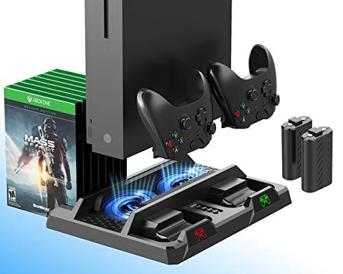 ElecGear Xbox One Soporte Vertical y Ventilador de Refrigeración, 2x Baterías Recargables de 1200mAh para Controlador, Estación de Carga Cargador con Juegos Almacenamiento para Xbox One, S, X y Elite