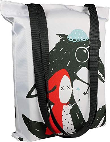 Shellbag LimeWorks Einkaufstasche, Motiv böser Wolf mit Rotkäppchen, gefüttert