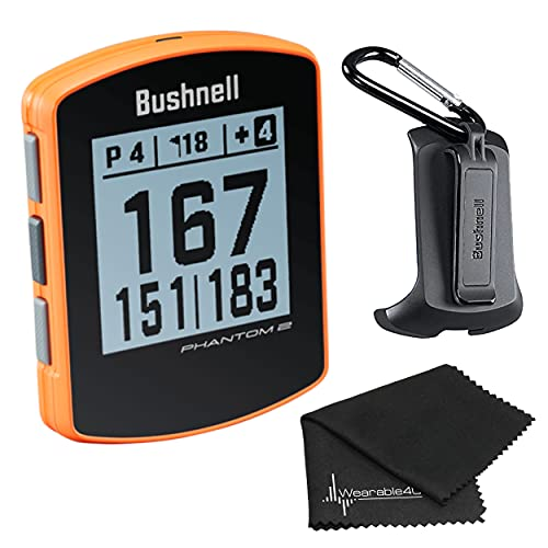 Bushnell Phantom 2 GPS Rangefinder Orange with BITE Magnetic Mount and GreenView with Wearable4U Lens Cleaning Cloth Bundle