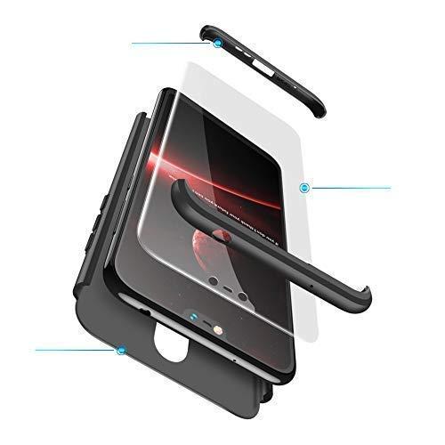 hyujia Compatible Nokia 6.1/Nokia 6 Coque Noir[2X Verre trempé] 360° Ultra Mince Antichoc Protection Housse Etui,3 en 1 Rigide Silicone Case Cover Bumper boîtier Housse Etui pour Nokia 6.1