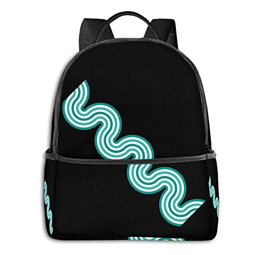 Horizontal Waves Pattern Teal Pullover Hoodie Student School Bag School Cycling Leisure Travel Camping Outdoor Backpack