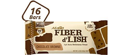 NuGO Fiber d'Lish Chocolate Brownie, 12g High Fiber, Vegan, 140 Calories, 16 Count