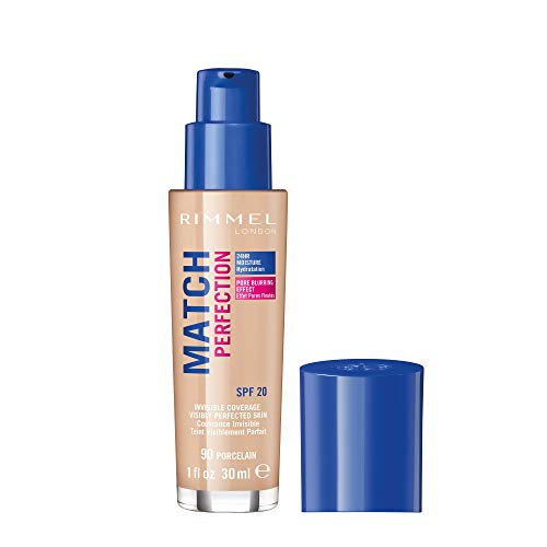Rimmel London Match Perfection Liquid Foundation, Hydrated And Radiant glowing Effect With Smart-Tone Technology And Spf 20 Formula, 90 Porcelain