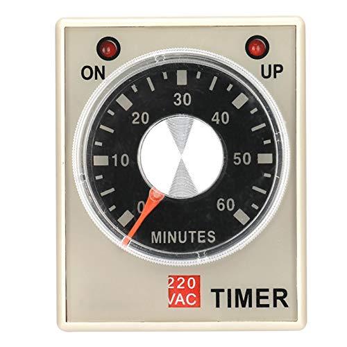 Relé temporizador de retardo, relé de tiempo AH3-3, 220VAC 6/10/30/60 minutos Temporizador de retardo de encendido(60M)