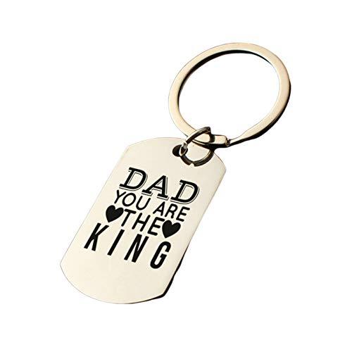 AmDxD Porte Clé Moto, Anneaux Porte Clef Acier Inoxydable Dog Tag Avec Gravure Dad You Are The King, Argent, 2.2 X 3.9CM