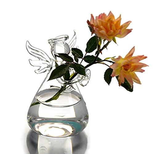CHENLING Florero transparente de cristal de borosilicato florero ángel creativo flor dispositivo arreglos para la decoración del hogar herramientas