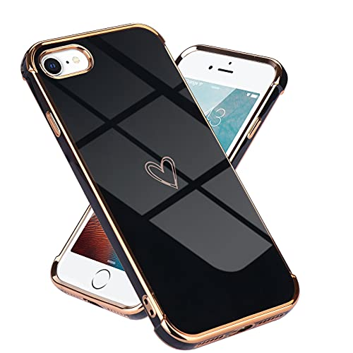 Lafunda kompatibel mit iPhone 7/iPhone 8/iPhoneSE2020 Handyhülle Mädchen Liebesherz Silikonhülle weich TPU Hülle Ultra dünn Stoßfeste Schutzhülle Bumper Silikon case für iPhone 7/8/SE2020 Schwarz