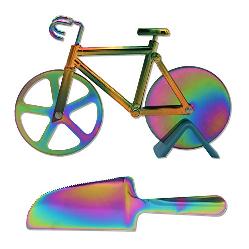 Bicycle Pizza Cutter Wheel Creative Pizza Knife,Rainbow Kitchen Tools with Pizza Server,Non-stick Dual Cutting Wheels Stainless Steel Bike Pizza Slicer - Cool Kitchen Gadget Birthday Gift