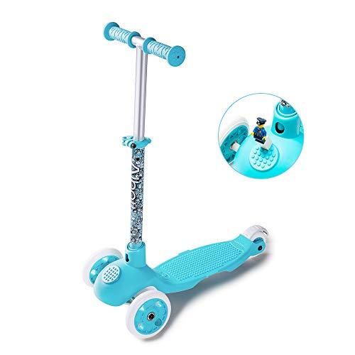 Albott Kinderroller Mini-Scooter Einstellbare Tretroller Bausteine Dreirad Roller für Mädchen mit PU blinkenden Rädern Dreiradscooter ab 3 Jahren bis 100kg belastbar (Blau)