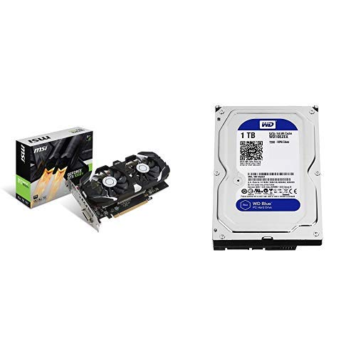 MSI Gaming GeForce GTX 1050 Ti 4GB GDRR5 128-bit HDCP Support DirectX 12 Dual Fan OC Graphics Card & WD Blue 1TB SATA 6 Gb/s 7200 RPM 3.5 Inch Desktop Hard Drive Bundle
