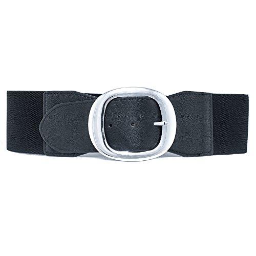 MYB Cintura elastica per donna con fibbia in metallo - altezza 75mm - Taglia Unica - diversi colori disponibili (Nero)