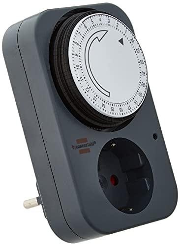 Brennenstuhl Zeitschaltuhr MZ 20, mechanische Timer-Steckdose (Tages-Zeitschaltuhr mit erhöhtem Berührungsschutz) grau 1506450 1 Stück