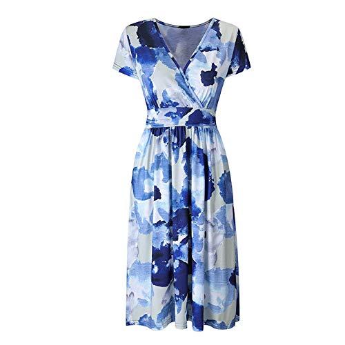 Damska letnia sukienka midi, długość do kolan, styl boho, kwiatowy wzór, sukienka z dekoltem w serek, luźna sukienka z krótkim rękawem, minisukienka plażowa, krótka sukienka na czas wolny, sukienka koktajlowa, sukienka na imprezę, bluzka, #5 niebieski, XXL