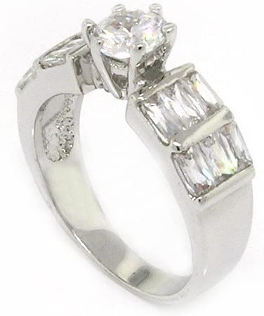 Classic Sterling Excellence Silver Promise Ring OFFicial mail order w Brilliant Baguett Round