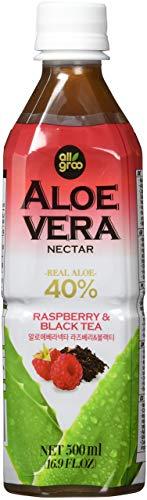 Allgroo Aloe Vera Nektar (40% Aloe Vera, vegan, pfandfrei) Schwarzer Tee und Himbeere, 12er Pack Vorratspackung (12 x 500ml)