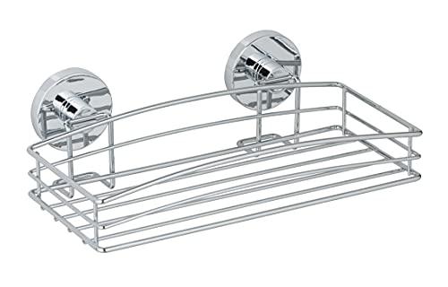 WENKO Vacuum-Loc® Wandablage - Befestigung ohne bohren, Stahl, 26 x 5.5 x 15.5 cm, Chrom