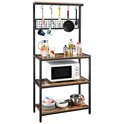 Yaheetech Estante de Cocina Rusticas Estantería para Microondas con 10 Ganchos Mueble de Cocina para Horno, Especias y Utensilios