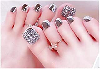 TBOP FAKE NAIL art reusable French long Artifical False nails 24 pcs set Manicure finished toe nail piece jelly gel type in Black and Silver color