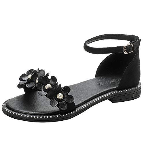 LXYYBFBD sandalen voor dames, zomerbloem, woord met sandalen, dames wilde, Romeinse sandalen, schoenen, zomer met rok vrouwelijk, zwart, modieus, casual, bohemen, strand, romanstijl sandalen